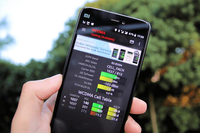 プラスエリア確認アプリ、Network Signal Guruとxiaomi mi5