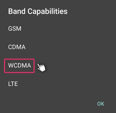 Network Signal GuruでWCDMAをタップする