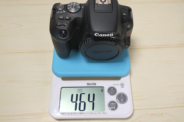 一眼レフカメラ、Canon EOS Kiss X9ボディの実測重量