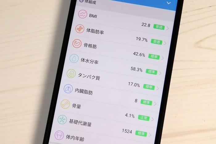 スマート体組成計の専用スマホアプリ