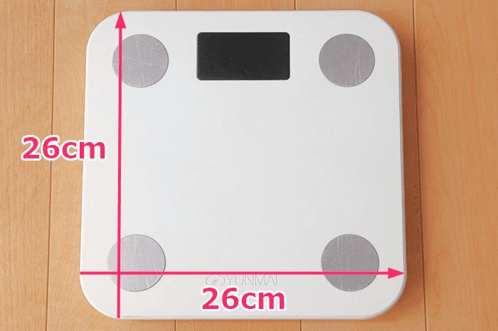YUNMAI スマート体組成計のサイズ