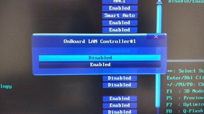 オンボードLANをBIOSで無効化(Disabled)する