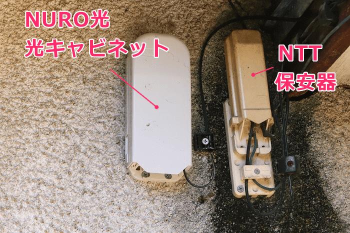 NURO光の宅内工事で、NTT保安器の隣に光キャビネットを設置