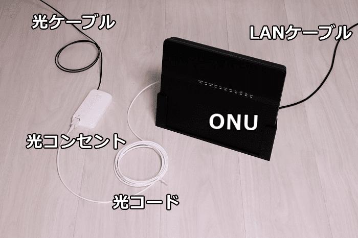 NURO光のONU hg8045qと光コンセント、光ケーブル、光コードを設置