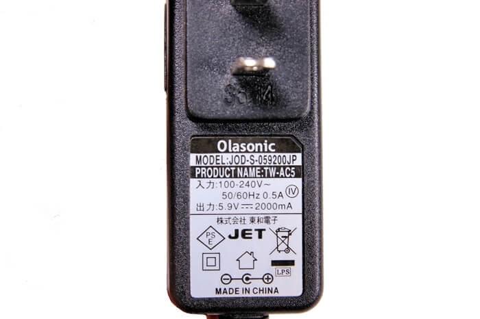 Olasonic(オラソニック)のスピーカー、TW-D6TVのAC電源アダプター