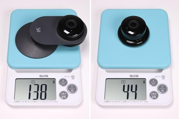 IPカメラ、YI ホームカメラの実測重量