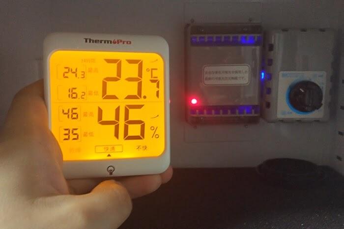 東洋リビングの防湿庫 オートクリーンドライ ED-25CAM、除湿ユニットは湿度46%で動作開始