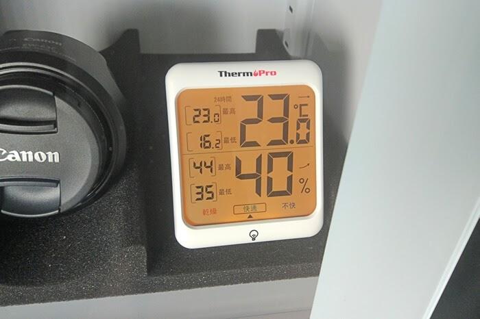 ThermoPro デジタル温湿度計 TP53と防湿庫