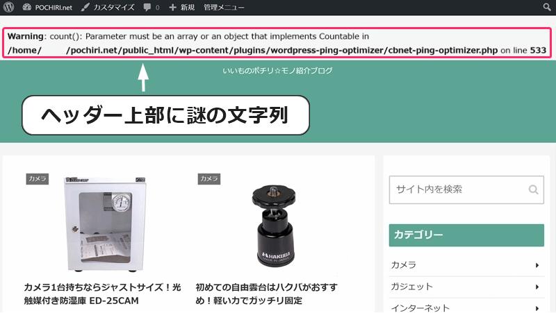 WordPressブログのヘッダー上部に謎の文字列が表示されている