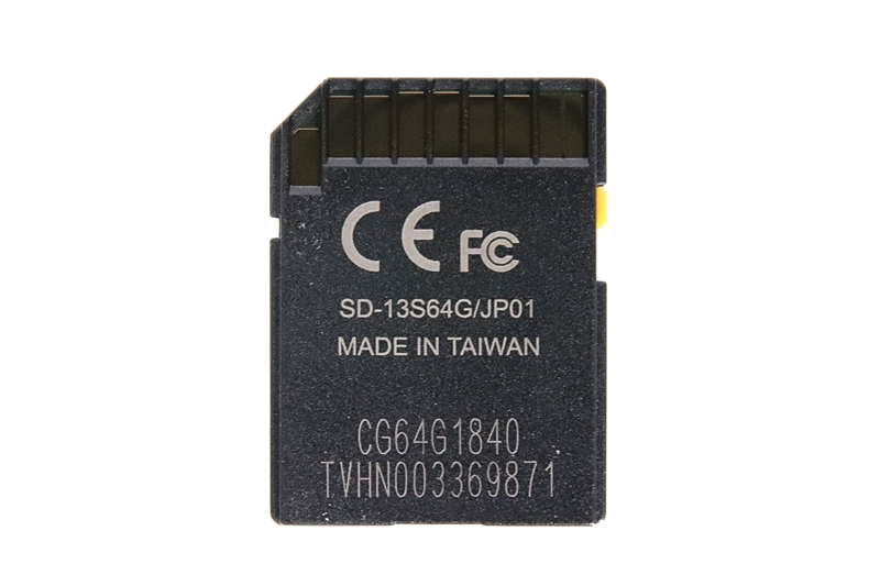 JNH SDCXカード 64GBのカード裏側、台湾製