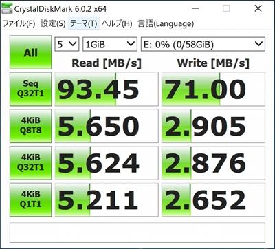 JNH SDCXカード 64GBの転送速度ベンチマーク