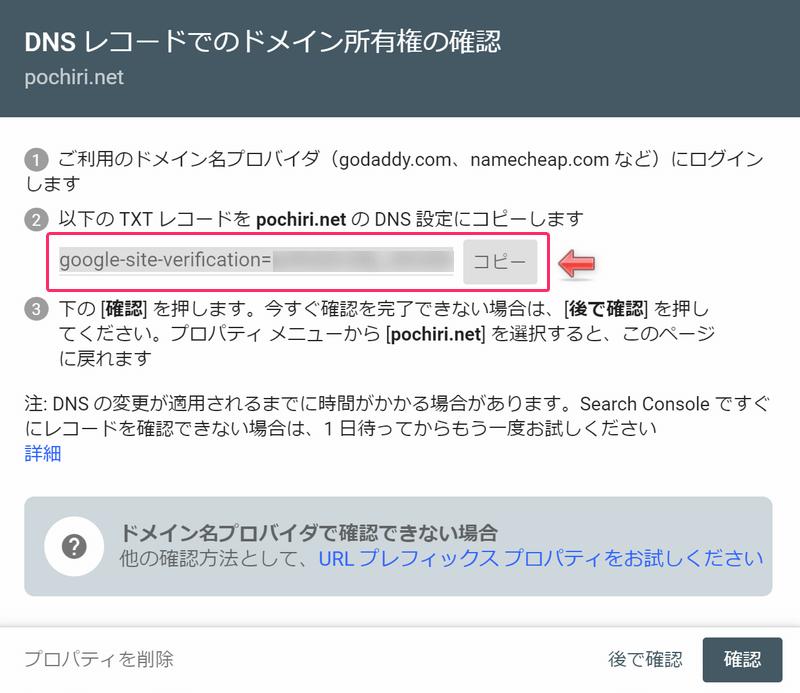 DNSレコードでのドメイン所有権の確認画面
