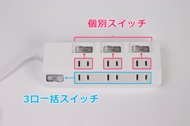 Panasonic ザ・マルチタップシリーズのスイッチ構造