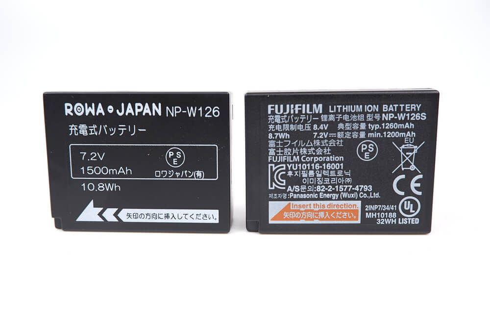 ロワジャパンのNP-W126バッテリーと純正バッテリーを比較
