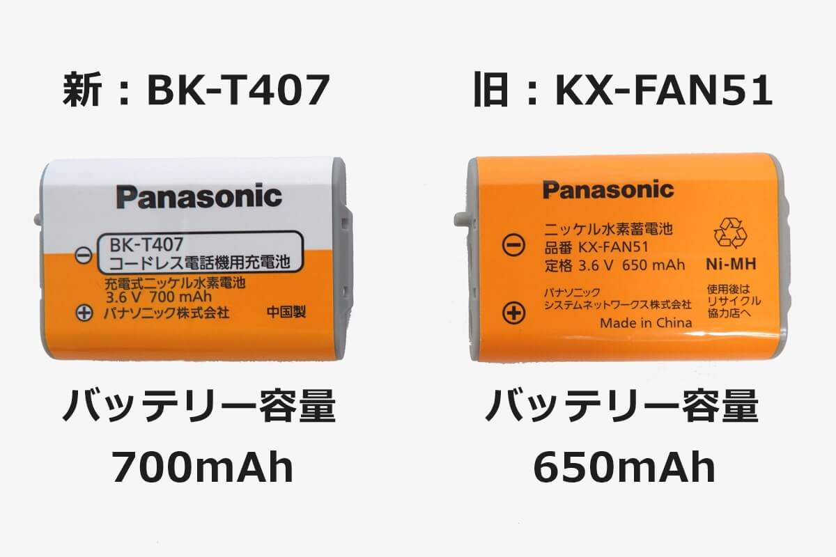 パナソニック BK-T407とKX-FAN51の容量