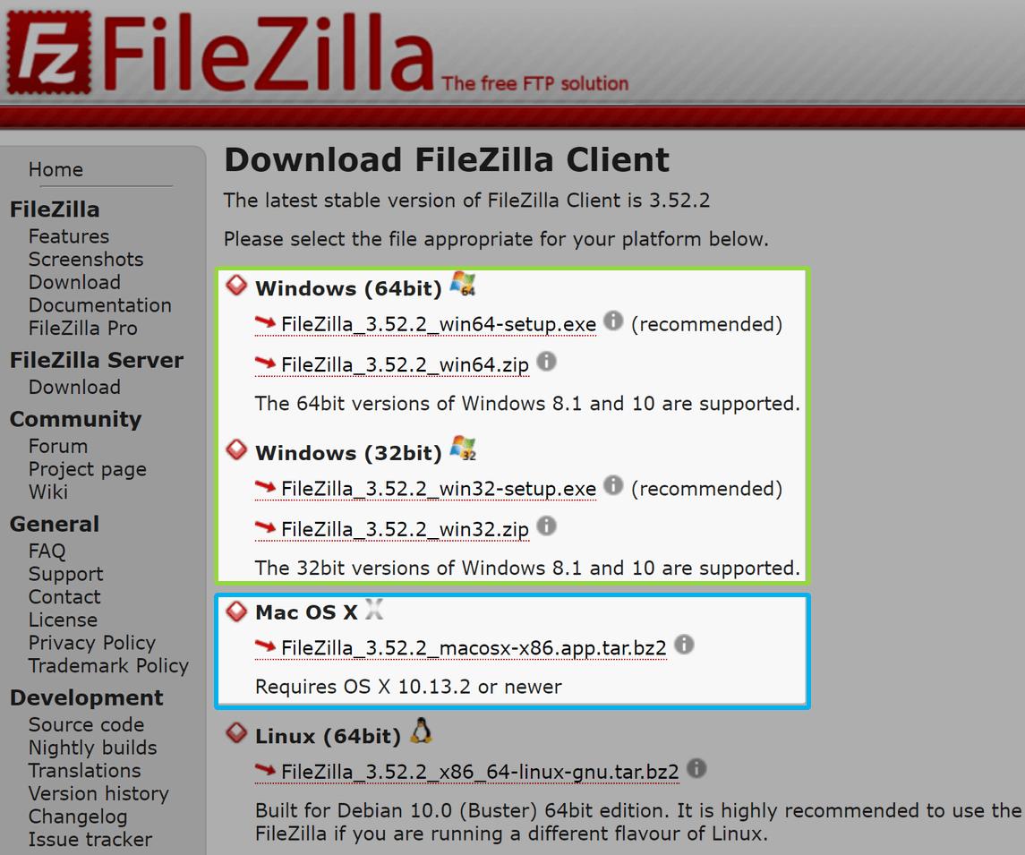 FileZillaのダウンロード、OSを選択する