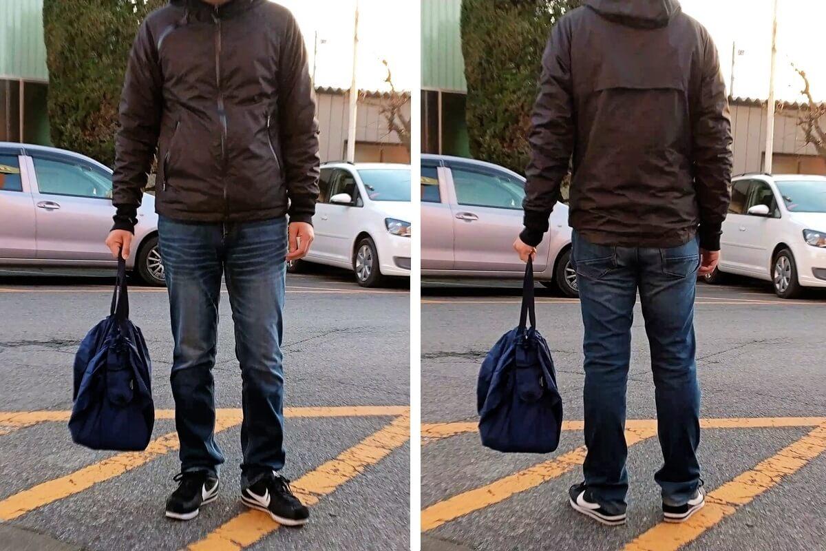 シュパットMバッグを持った男性、正面と後ろ姿