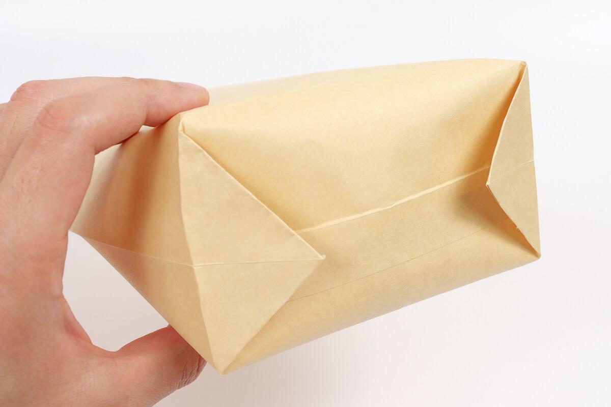 封筒でポップコーン、封筒の折り方、底面