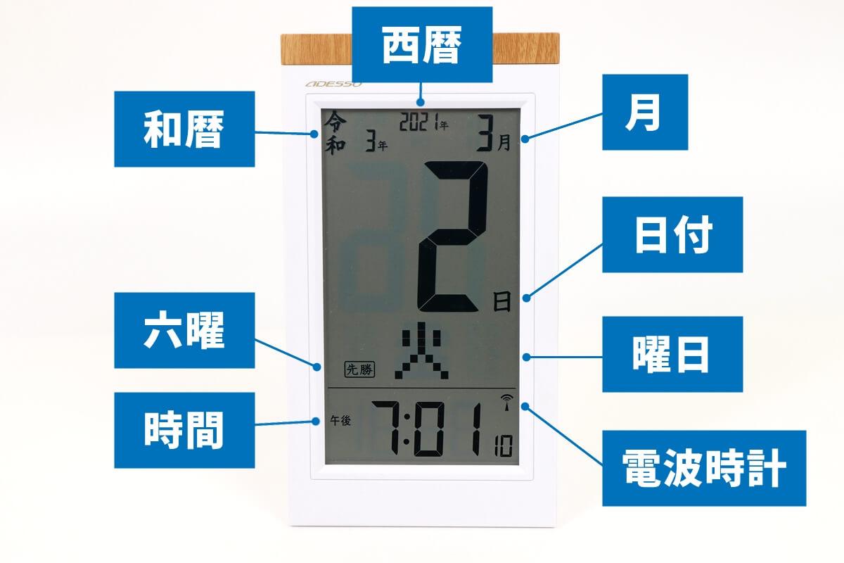 アデッソ NE-02 日めくりカレンダー電波時計の表示