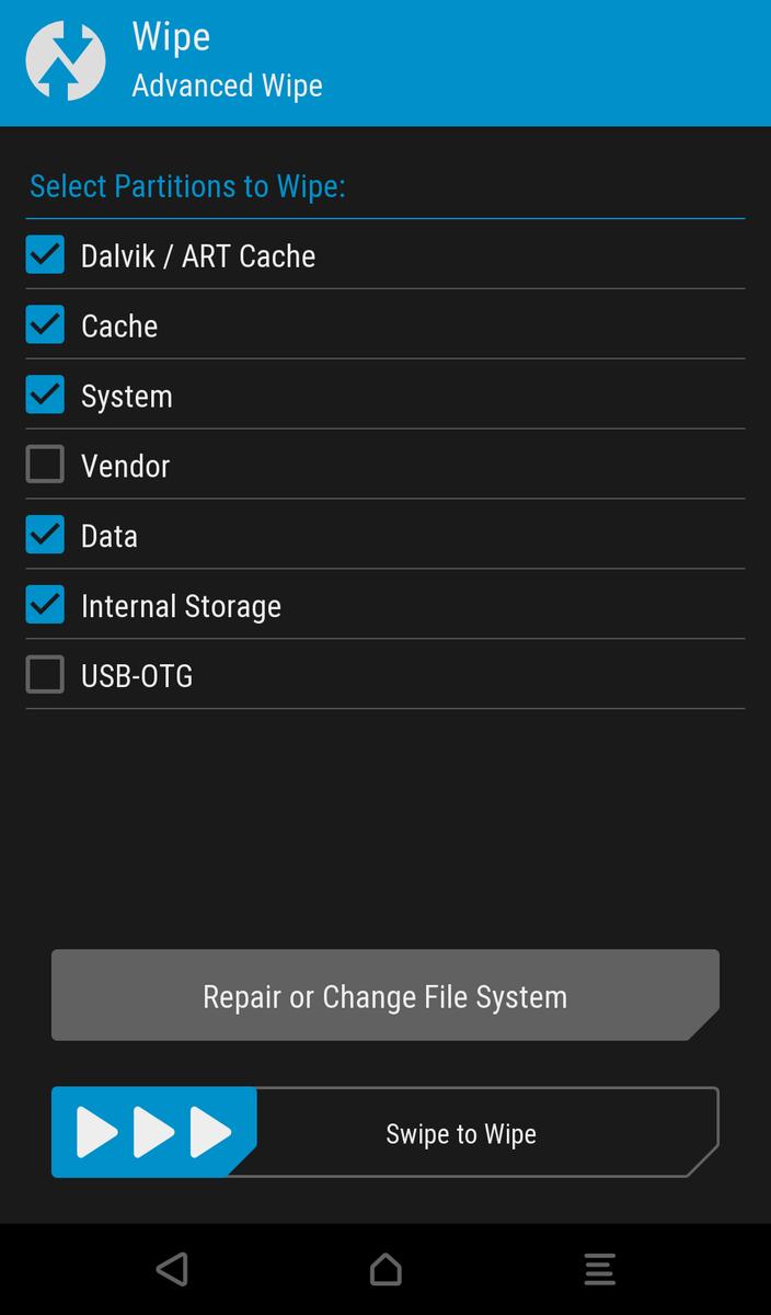 TWRPでAdvanced (Dalvik/System/Data/Internal Storage/Cache )する