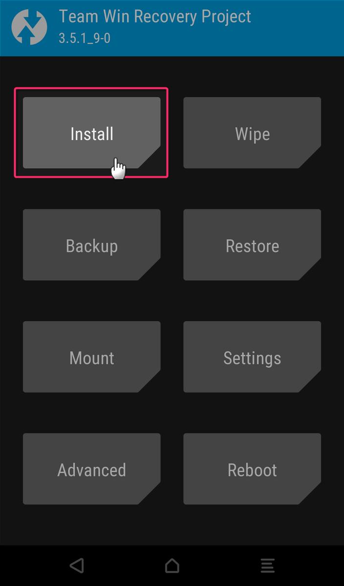 TWRPのメニュー画面からInstallをタップする
