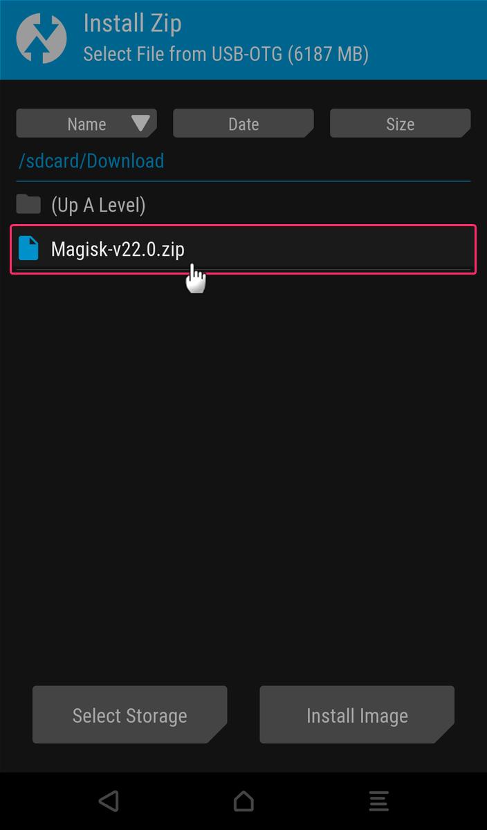 TWRPのInstallでmagiskのzipファイルを選択する