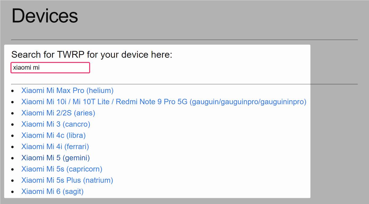 TWRPのダウンロードページで自分の機種を検索する